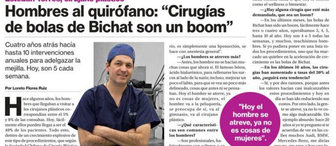 """, Dr. Torres cuenta en el diario """"La Segunda"""" el boom de las cirugías en los hombres"""