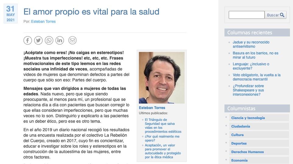 Columna de opinión sobre el amor propio del Doctor Esteban Torres en Cooperativa, Dr. Esteban Torres