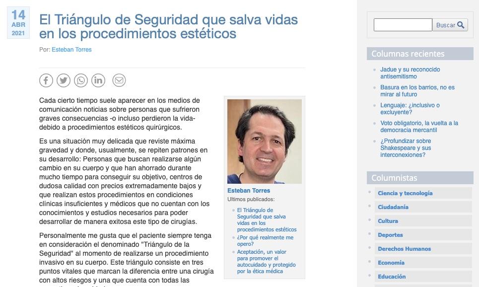 Columna de Doctor Esteban Torres sobre seguridad de procedimientos estéticos, Dr. Esteban Torres